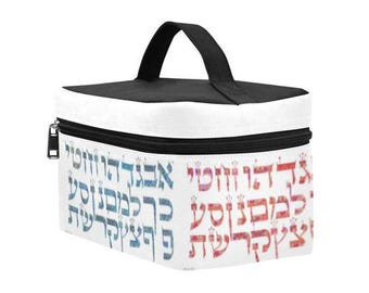 Hebrew alphabet-Artistic Insulated Lunch Bag- custom - Back to school-6.30''x10.63''x5.51''-nice gift for adults and kids