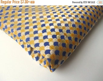 ON SALE Blue yellow gold heavy silk brocade bridal silk tie silk Indian wedding silk brocade fabric nr 349 REMNANT