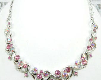 Coro Pink Rhinestone Necklace, Silver Tone, Art Deco Revival, Wedding, Bridal, Vintage Jewelry SPRING SALE