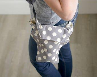 Camera Bag Best Photographer Gift 2017   Gray Polka Dot Cotton Outdoor Fabric Water Resistant   DLSR Travel Bag Summer   USA Handmade Utah