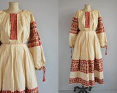Vintage Folk Costume/  Hand Embroidered Croatian Traditional Dress Blouse  Apron