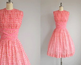 Vintage 1950s Dress / 50s Sheer Pink Cotton Dot Print Sundress with Full Gathered Circle Skirt and Bows