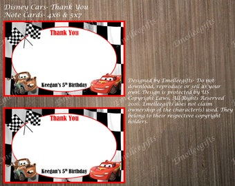 Lightening McQueen/Cars Personalized Thank You Note Cards