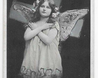 1908 RPPC Little Girl as Angel Real Photo Postcard