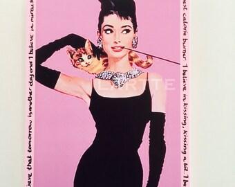 Audrey Hepburn Tile Plaque Pale Pink I believe in pink
