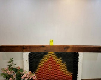 "Reclaimed Barnwood Mantle 82 3/4"" Long Barn Wood Beam Vintage Shelving"