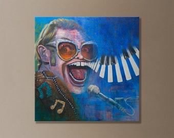 "ORIGINAL painting of Elton John by Jeff Rodenberg 24""x24"""