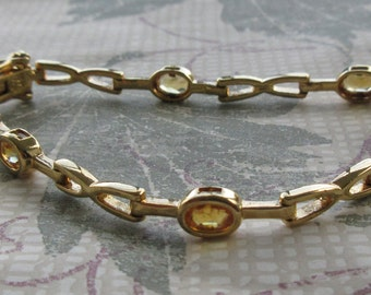 Gold Plated (Vermeil) Sterling ~ Well Made ~ Articulated Link Bracelet with Faceted Citrine-colored Stones ~ LQQK