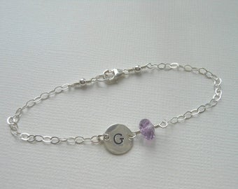 Personalized Bracelet, Sterling Silver, Birthstone Bracelet, Gift for Her, Personalized Gift, Hand Stamped, Initial Charm,Dainty Bracelet