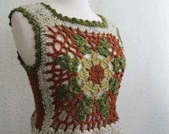 Crocheted Vest - Granny Square Vest - Crocheted Flower Motif Vest - Crocheted Sweater Vest