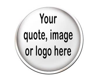Custom Text Lapel Pin, Logo Lapel Pin, Photo Lapel Pin, Custom Business Pin, Personalized Tie Tack, Two Sizes, Shiny Silver or Antique Brass