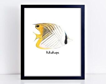 Hawaiian Kikakapu Fish Art Print || threadfin butterflyfish, tropical decor, fish painting, hawaii art, original watercolor painting