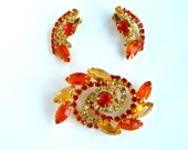Juliana Orange Yellow Brooch Pin Earrings Flower Swirl Chaton Navette Rinestones Juliana Earring Brooch Set Demi Parure TreasuresOfGrace