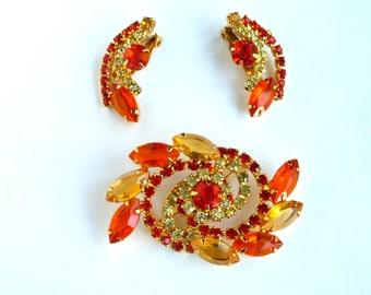Juliana Orange Yellow Brooch Pin Earrings Flower Swirl Chaton Navette Rinestones Juliana Earring Brooch Set Demi Parure TreasuresOfGrace