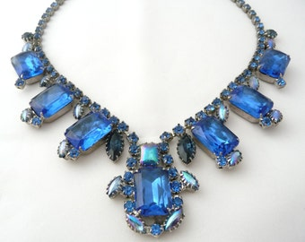 Exceptional Vintage Schrager Royal Blue Rhinestone Crystal Schrager Necklace from TreasuresOfGrace