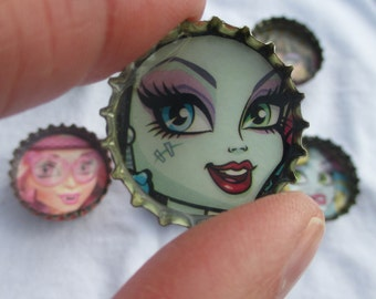 Monster High Bottle Cap Magnets Party Favors Handmade Upcycled Material