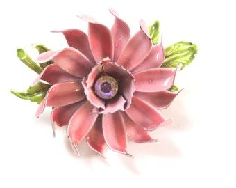 "Pin Brooch...   Large Metal Pink Flower Pin w green leaves 3"""