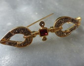Costume Jewelry Brooch Ruby Red Paste Gem in Gilt Setting