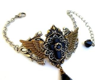 20% OFF Gothic Black Cross Bracelet Wings Black Crystal Bracelet Mixed Metals Bracelet Gothic Cross Gothic Jewelry