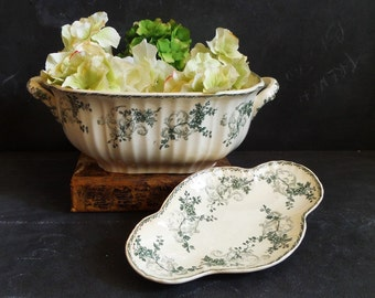 1895 Antique Large french Soup Tureen ironstone serving bowl with little serving dish. Longwy. Cie Franco Anglaise. Table centerpiece