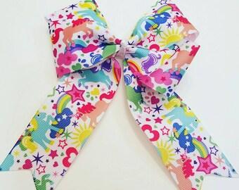 Unicorns,  Hearts, & Stars Colorful Handmade Bow