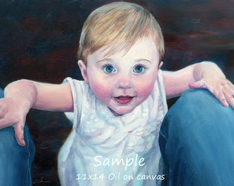 Custom child portrait, Commissioned baby painting from photo, Unique grandma, grandpa gift, Watercolor or oil original art by Janet Zeh