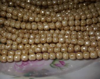 Vintage Japan Cherry Brand Glass Beige Satin AB 5MM Baroque Beads