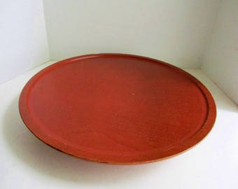 "Vintage Lazy Susan Large 16"" Turnaround Centerpiece Rustic Red Solid Wood"