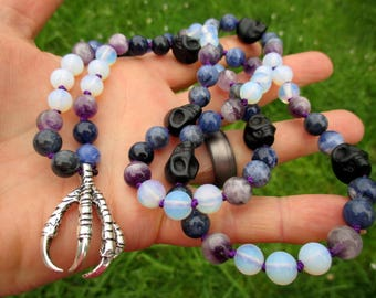 Dark Goddess Pagan Prayer Beads with Silver Raven Claw, Black Skulls, Sodalite, Amethyst, & Opalite / 72 Mala / Devotional Necklace
