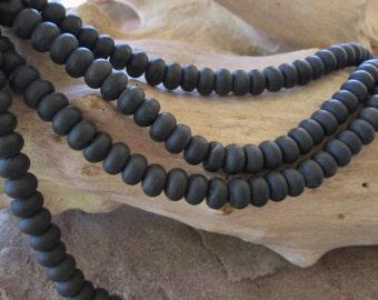 "8MM Big Hole Bead Black Obsidian Matte Finish Rondelles 2.5 mm Large hole Fit Leather 8"""