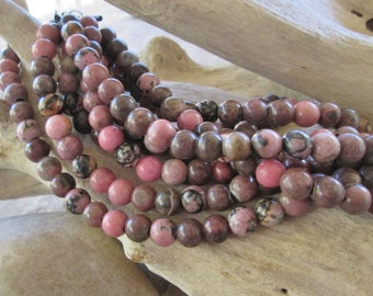 Round 8 MM Rhodonite Big Hole Bead Fits 2 mm Leather 24 -26 Pinkish Brown Beads