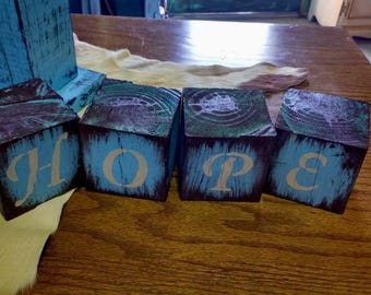 HOPE Message blocks 3 1/2 x 3 1/2 inch wood blocks distressed primitive rustic country home decor