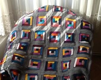 RAINBOW Blanket - THROW Blanket - Crochet Throw / Crochet Blanket / Afghan Blanket / Lap Blanket / COZY Blanket / Multicolor Throw / Throw