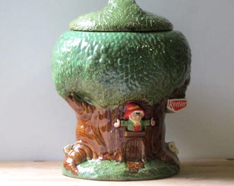 Keebler Cookie Jar Ceramic Ernie the Elf Tree House