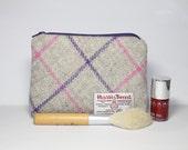 Make-up bag, cosmetics bag, Harris Tweed, cream with a pink and purple Tartan pattern