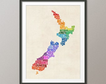New Zealand Typography Text Map, Art Print (1480)