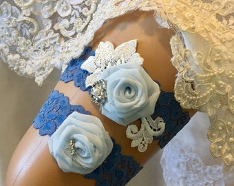 Wedding garter set/Wedding/Blue garter set/Something blue/Wedding accessories/Garter/ Lace garter set/Bridal garter set/Blue toss garter