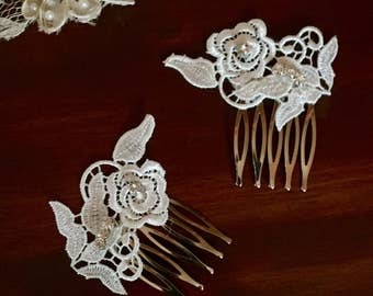 Vintage Wedding/Hair Comb Set/ Hair/ Hair Accessories/Wedding Accessories/Wedding/Venice Lace Comb Set/ Comb Set