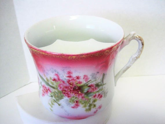 Porcelain Mustache Cup - Pink Flowered - Unsigned - Gift for Dad