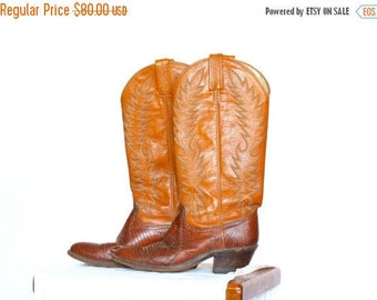20% OFF SALE Vintage Cowboy Boots, Women's Size 7.5 Western Boots, Dan Post Leather Boots, Made in the USA