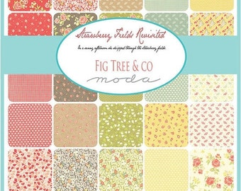 On Sale Strawberry Fields Revisited Fat Quarter Bundle by Fig Tree & Co. for Moda - One Fat Quarter Bundle - 20260AB