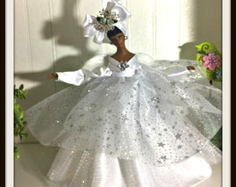 ANGEL In All White, African American Christmas Angel Tree Topper, OOAK Tree Top Angel In White, Handmade Black Angel in White Gown