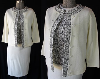 1960s Glengarry Knit Suit, Jackie Kennedy, Blouse, Jacket, Skirt