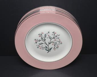 "RESERVED for Liz DO NOT purchase 8 - 1/2 payment 10"" Dinner Plates ""Cavalier Springtime"" by Homer Laughlin Pattern Pink Rim #CV32"