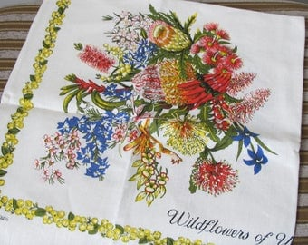 Vintage Tea Towel Wildflowers of Western Australia signed Heil