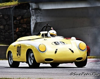 1961 Porsche 356, Mont Tremblant Raceway, Vintage Racing, Vintage Porsche, Porsche, Yellow Porsche, Race Car Photos, Car Racing Photos