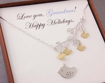 Message Card Jewelry, 1-5 kids, message jewelry, gifts for grandma, mom necklace, mother necklace, gifts for mom, grandma necklace, N3