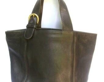 COACH Classic Black Leather Handbag c 1990
