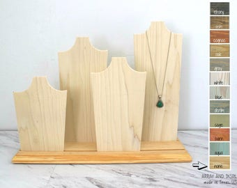 Necklace Displays Set of 4, Wood Jewelry Displays, Necklace Busts, Necklace Stands, Retail Boutique Displays, Craft Market Booth Displays