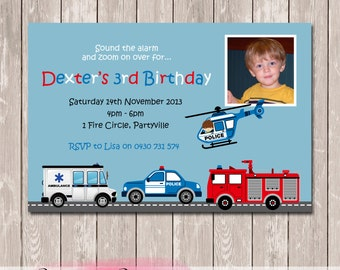 Fire Rescue Police Ambulance Photo Personalised Birthday Invitation - YOU PRINT